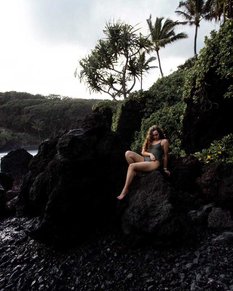 Wai'anapanapa State Park's Small Black Sand Beach in Maui, Hawaii (Maui Instagram spots)