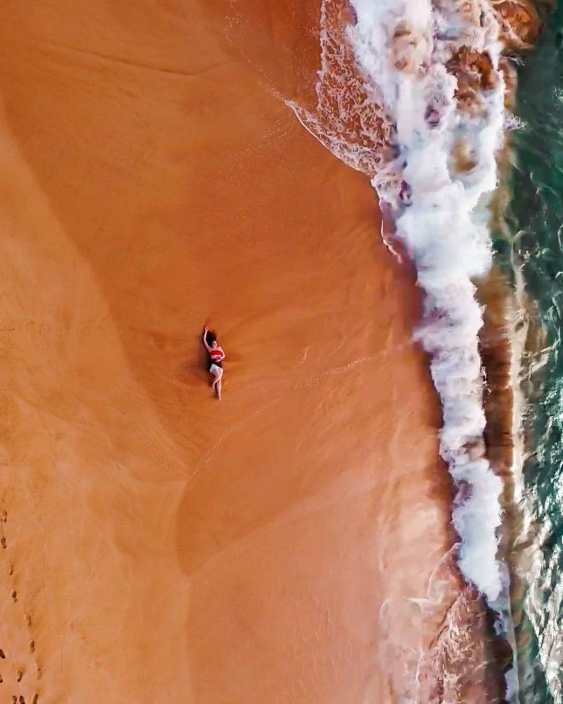 Drone shot of Makena Beach in Maui, Hawaii