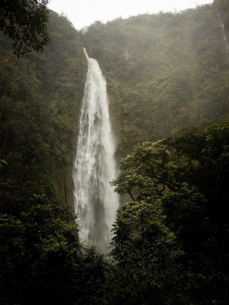 Waimoku Falls on the Pipiwai Trail on the Road to Hana in Maui, Hawaii