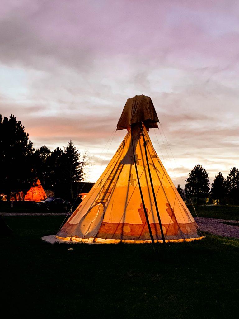 Teepee camp stay in South Dakota near Mt. Rushmore