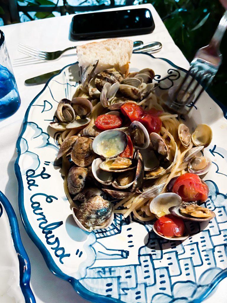 Spaghetti with clams at Ristorante Bruno in Positano, Italy