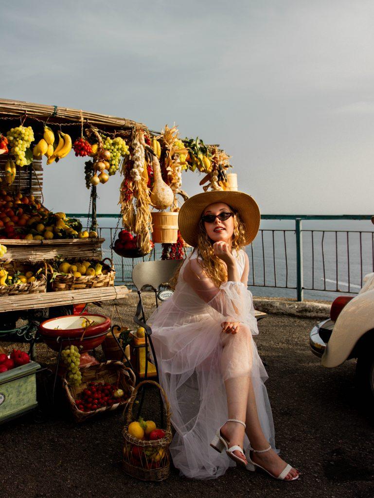 Fruit stand Instagram spot in Positano, Italy