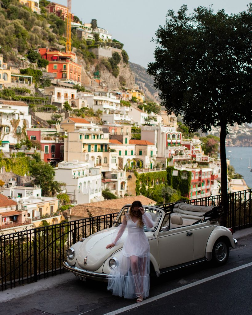 Street and city view of Positano, Italy